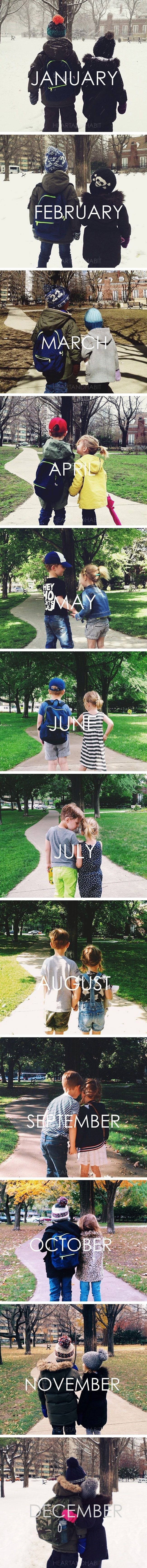 Take a picture in the same spot every month and then make a calendar out of it! This is really cute, the love is strong with these siblings