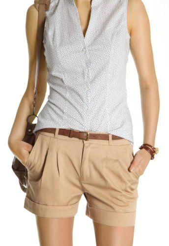 Bestyledberlin Damen Shorts, kurze Chino Hosen, Damenhosen, Bundfaltenhosen mit Gürtel j161p