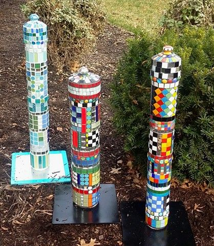 Wonderful Garden Art. Mosaic Garden Pillars. Www.MosaicsGarden.com