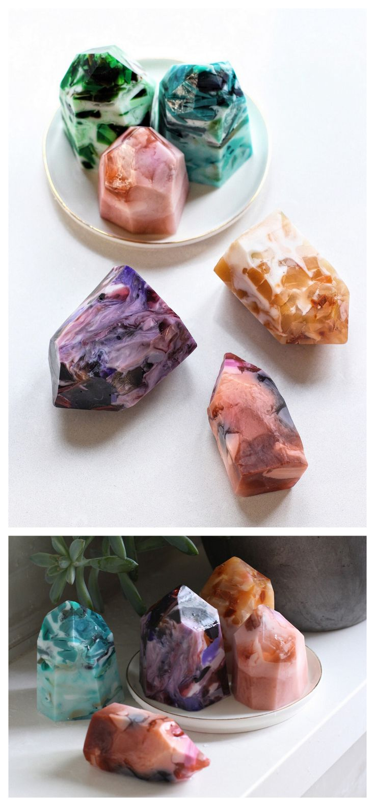 DIY Gemstone Soap Tutorial from Honestly WTF.Make this gift worthy DIY Gemstone Soap using easy melt and pour soap. For homemade soaps like Orange Clove Gardener's Soap and many more go here: diychristmascrafts.tumblr.com/tagged/soap, and for more...
