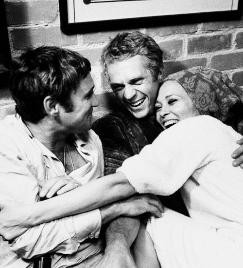 Norman Jewison, Steve McQueen and Faye Dunaway  on the set of The Thomas Crown Affair, 1967.