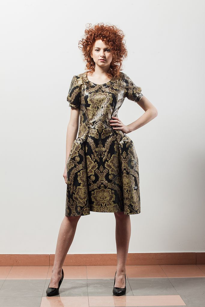 gold brocade mini dress