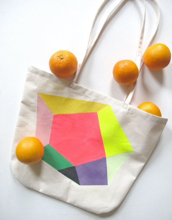 Happy NEON TOTE to go. $52.00, via Etsy.