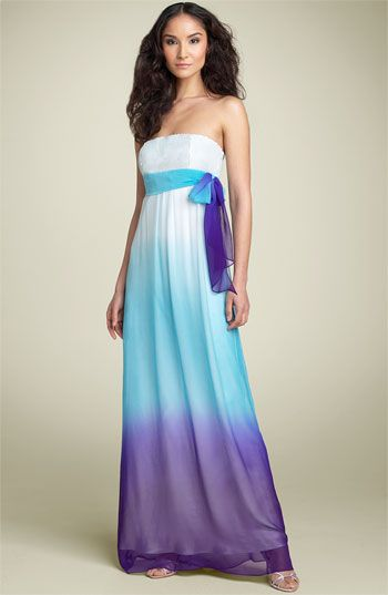 Purple And Teal Ombre Bridesmaid Dresses