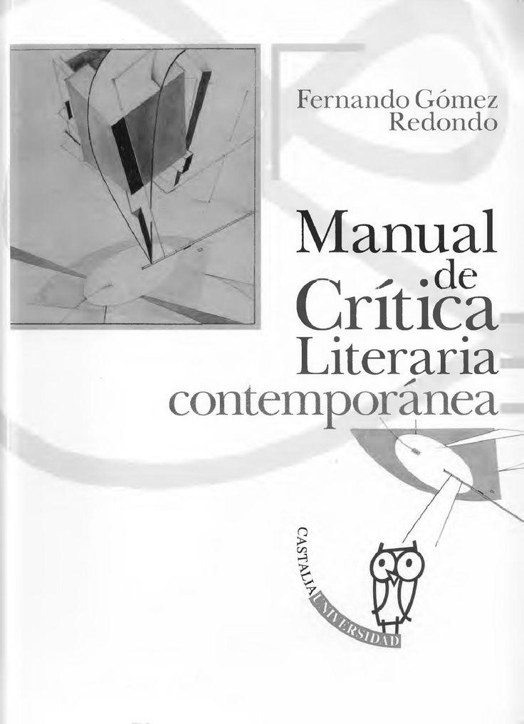 Gómez Redondo, Fernando: Manual de Crítica Literaria Contemporánea