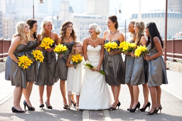 Modern Silver White Yellow Bouquet Summer Wedding Flowers Photos & Pictures - WeddingWire.com