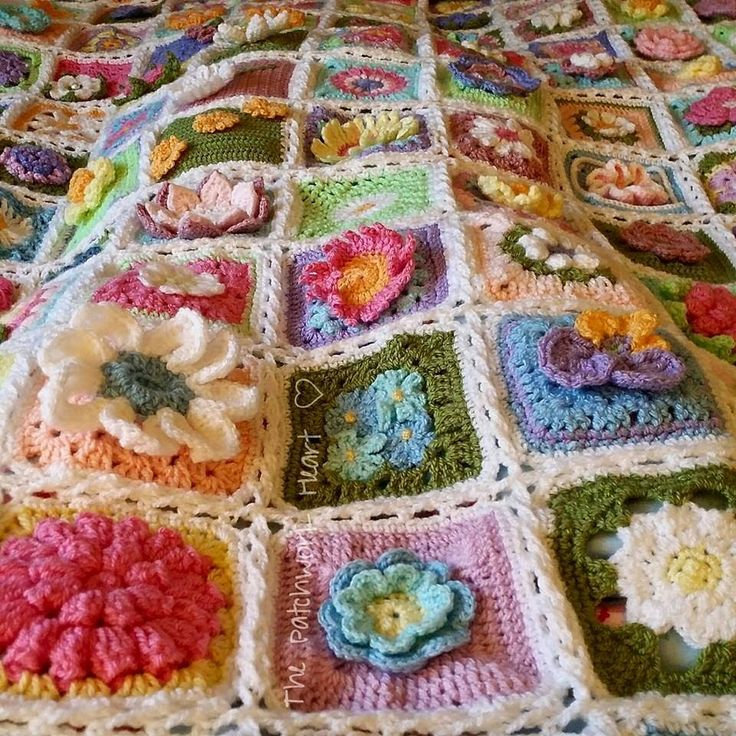 The Spring Flower Blanket a community project run by The Patchwork Heart and made by 121 ladies on Instagram