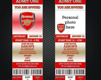 Arsenal Invitation Etsy Kyle S Soccer Party