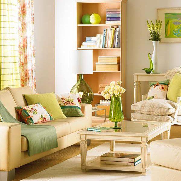 Зелень и светлые тона для гостиной green-spring-in-livingrooms