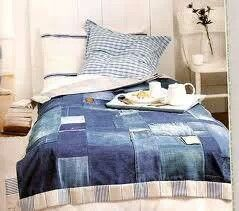 Denim Patchwork Comforter #Denim #Comforter #Quilt .. can you imagine how warm and cozy this would be??