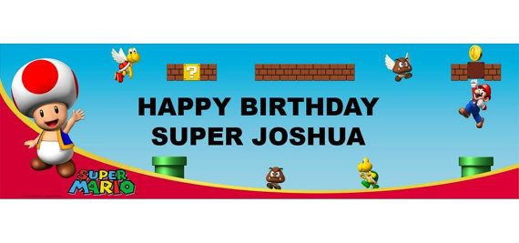 Mario Bros Personalized Happy Birthday Banner 5ft, Toad Birthday Party Banner  These are great for a Child's Party!