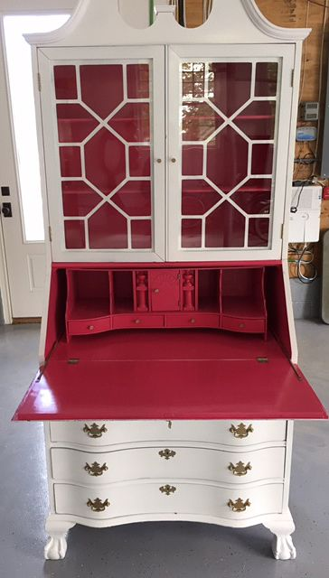 Delightful Antique Secretary Painted With AHAH Lacquer Paints In White Perfection And  Begonia