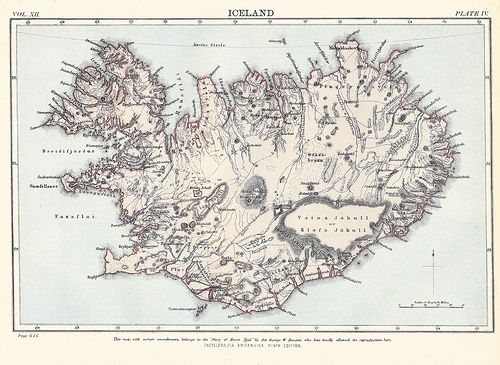 Love old maps (Iceland  map - Encyclopedia Britannica 1878)