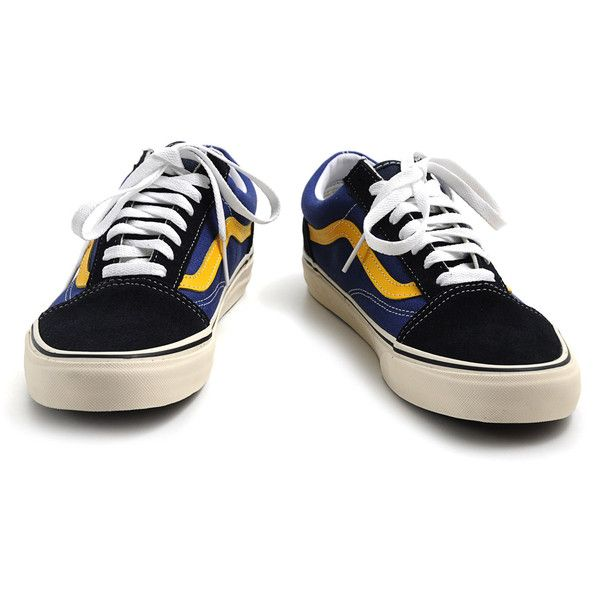Vans Old Skool 2 Tone Navy Citrus ($79) ❤ liked on Polyvore featuring shoes, sneakers, vans, 2 tone shoes, summer shoes, navy blue shoes, vans footwear and two tone shoes