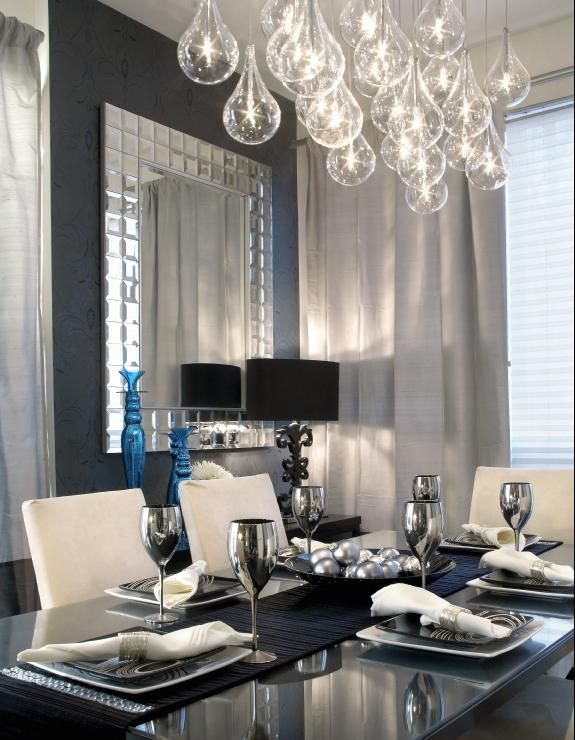 so chic!!! everything's so simple but the lighting brought it to another level. the goblets are a nice touch too