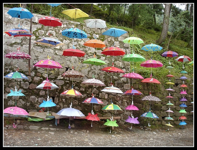 Umbrellas for sale in Muree, Pakistan. Murree is a popular hill station and summer resort in the Margalla Hills around Islamabad.
