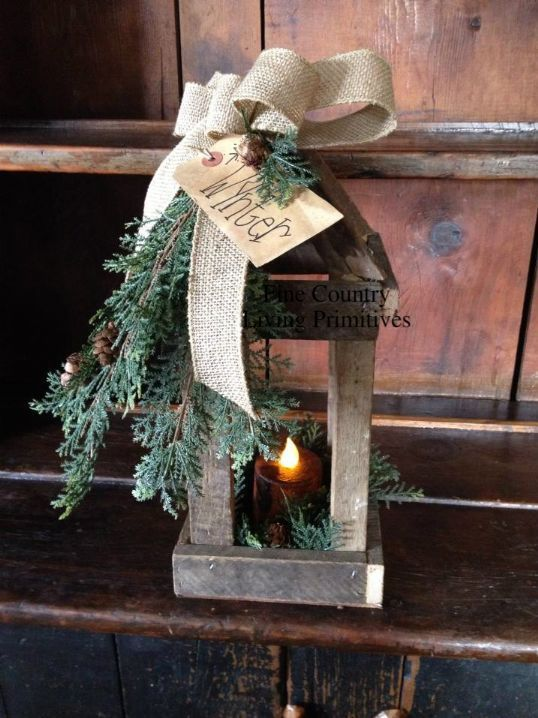 Handcrafted Colonial Wynter Lantern with Timer Pillar Candle ~ Early American Christmas Decorating ~ Fine Country Living Primitives