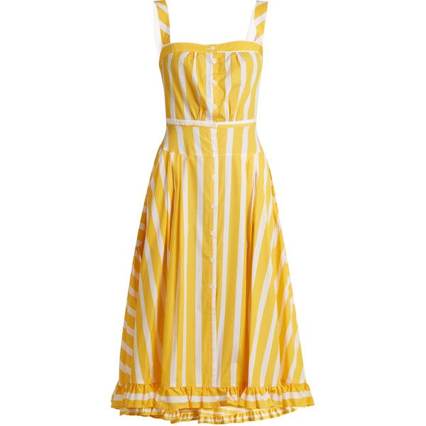 Thierry Colson Rossana striped ruffled-hem cotton dress found on Polyvore featuring dresses, yellow multi, button front dress, sunflower dress, sunflower yellow dress, braid dress and yellow stripe dress