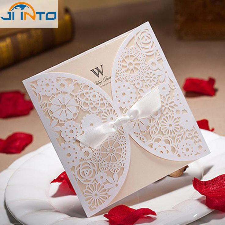 marriage invitation card in hindi language%0A Lace Bowknot Wedding Invitation Card customizable Vintage Laser cut White  Hollow Flowers Blank Inside with Envelope