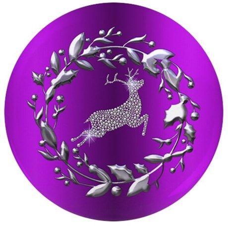 "Silver Christmas Reindeer on Purple 3.5"" Button on CafePress.com"