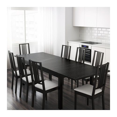 """BJURSTA Extendable table, brown-black - IKEA, $249 -- With 2 extra leafs stored under the table top you can extend the table to seat from 4 to 8 people. -- Length: 85 7/8 """" Min. length: 68 7/8 """" Max. length: 102 3/8 """" Width: 37 3/8 """" Height: 29 1/8 """""""