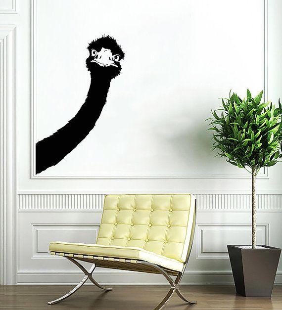Ostrich Decal - Animal Camel-bird Head Wall Decals Wall Vinyl Decal Sticker Interior Home Decor Vinyl Art Decor Bedroom Living Room SV5331