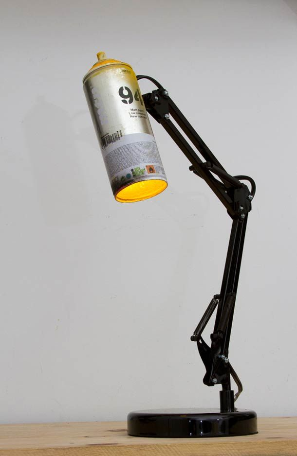 Recycled spray cans into desk lamps - iD Lights