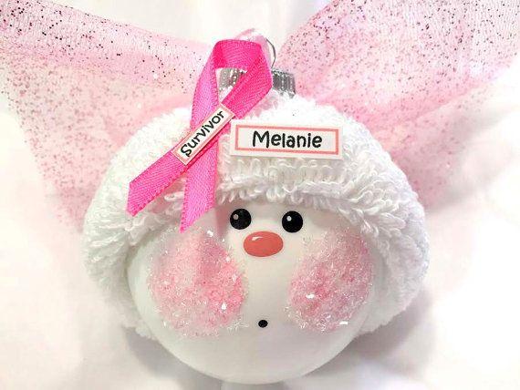 Breast Cancer ange Noël ornements survivant nom rose étiquette échantillon peint à la main à la main sur le thème de Townsend cadeaux personnalisés - F