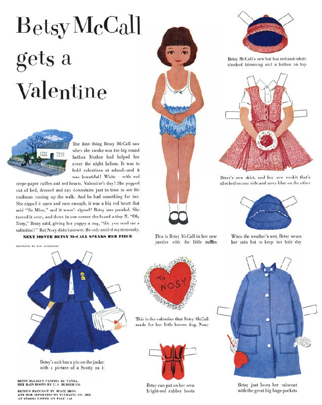 """Betsy McCall Gets a Valentine - the link takes you to Flickr's """"vintage paper doll"""" group... some 1500 dolls!"""