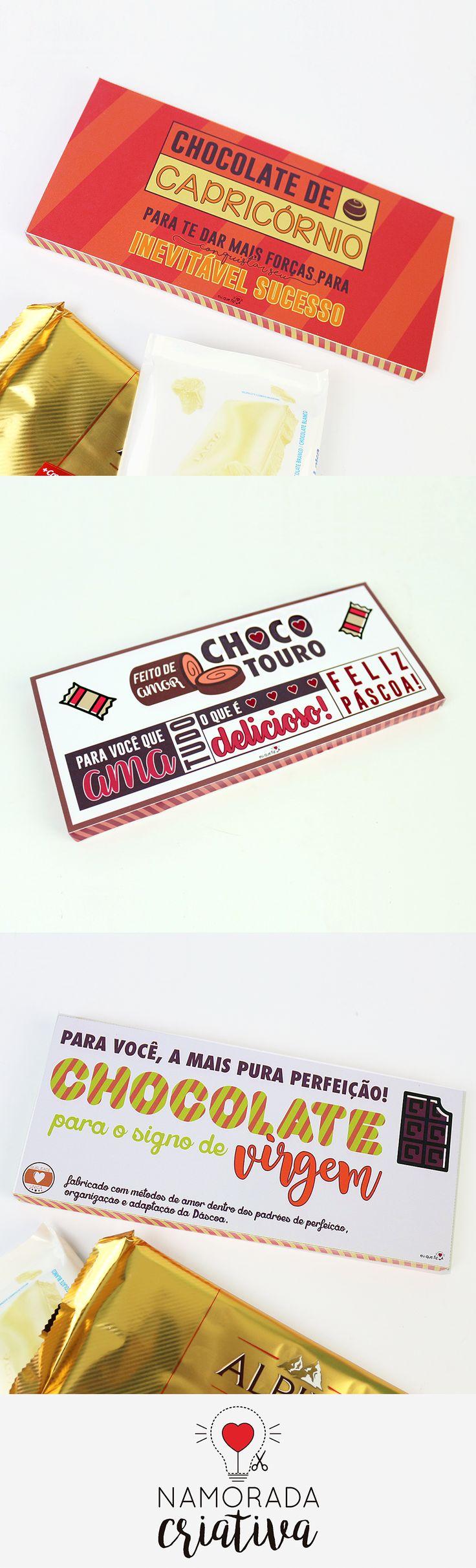 Rótulos para barra de chocolate com tema signos. Elemento terra: Virgem, Capricórnio e Touro.