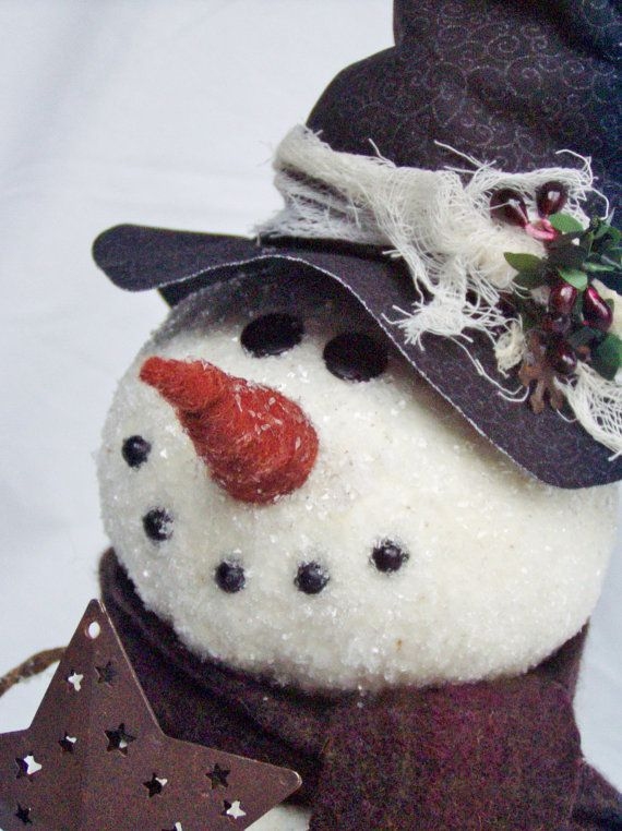 PATTERN Primitive Snowman Tree Topper by happyvalleyprimitive