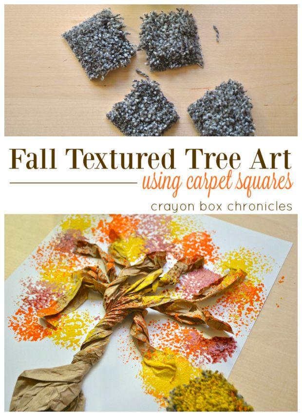 Easy Fall Tree Art for Kids Using Carpet Squares #brownpaperbag #recycledart