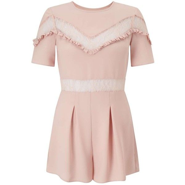 Miss Selfridge PETITE Lace Insert Playsuit (£61) ❤ liked on Polyvore featuring jumpsuits, rompers, pink rompers, pink romper, miss selfridge, playsuit romper and lace panel romper