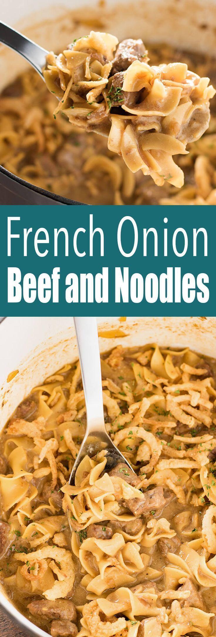 Sahniges französisches Zwiebel-Rindfleisch und Nudeln