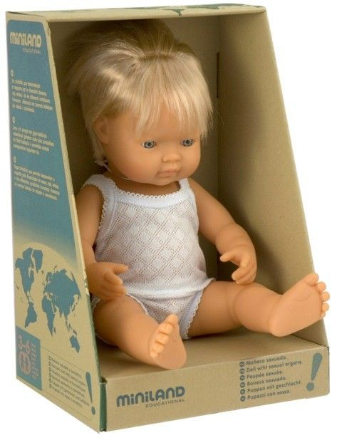 Miniland - Doll Caucasian Boy 38cm My little boy Eddie 5 just adores baby dolls and this one is gorgeous and looks just like him! #PinToWin  #EntropyWishList