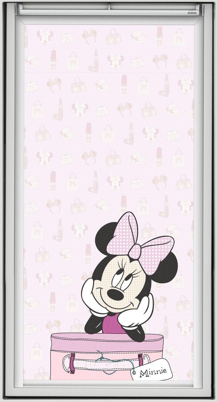 """Minnie Maus ist temperamentvoll und liebenswürdig. Sie verzaubert Mädchenträume und hat ihren Platz auf zwei Dekoren der VELUX Verdunkelungs-Rollos im Disney-Design. Bildquelle: © Disney. © Disney. Based on the """"Winnie the Pooh"""" works by A. A. Milne and E. H. Shepard."""