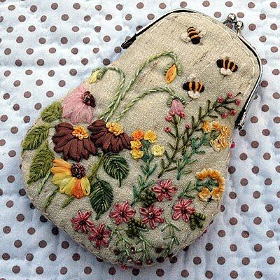 ♒ Enchanting Embroidery ♒ embroidered flowers on purse