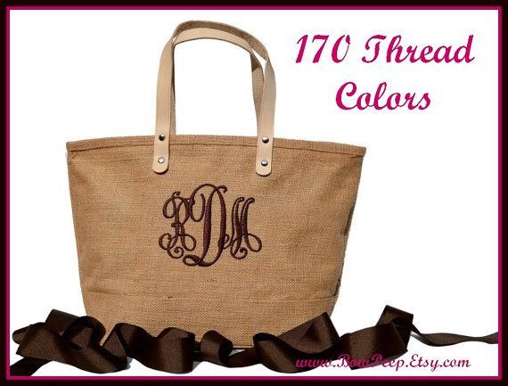 Monogrammed Natural Color Jute Tote Bag  Personalized by bowpeep, $21.95