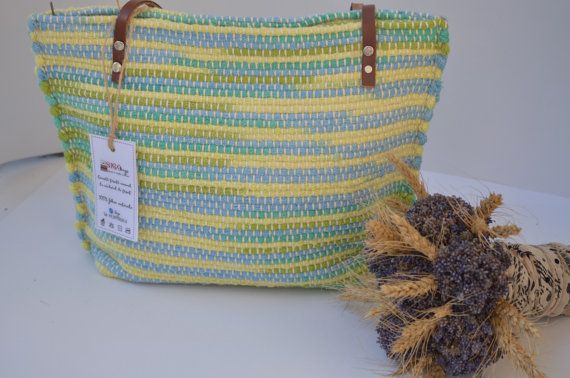 HANDWOVEN RAG RUG green handbag shoulder bag handmade tote manual unique Gabriela