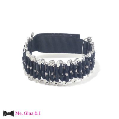 Black dot safety pin bracelet.