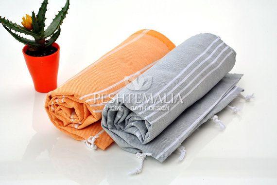 Beach Sarong Cloth Handmade Towel Gift For Mom 2 PCS Hand Loomed Towel Cheap Beach Towel Summer Accessories Summer Towel Beach Fouta Orange