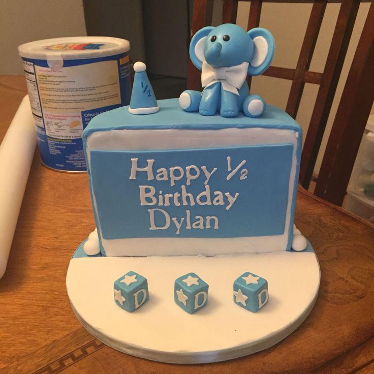 Cute fondand/gumpaste elphant 1/2 birthday cake 6 months cake