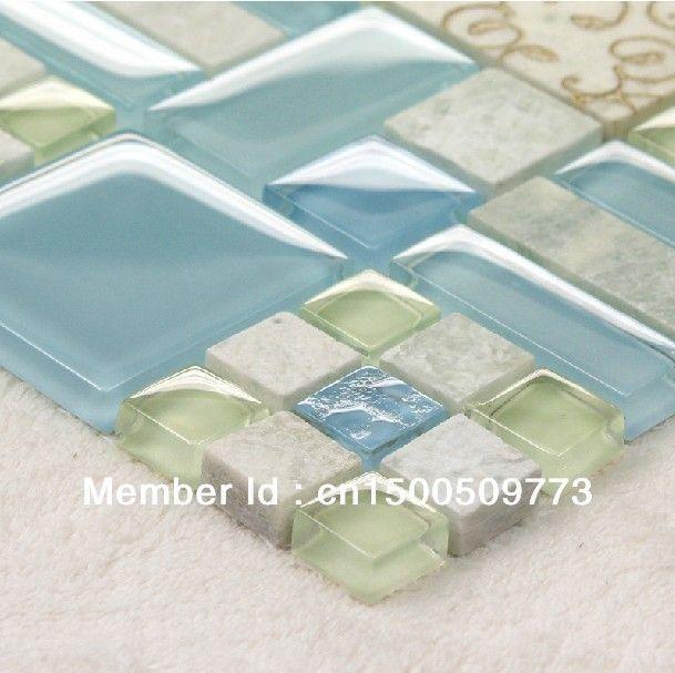 FREE SHIPPING Stone Glass Mosaic Tiles, bathroom mosaic tiles, Mediterranean style tiles, Kitchen Backsplash, Wall Background $254.81