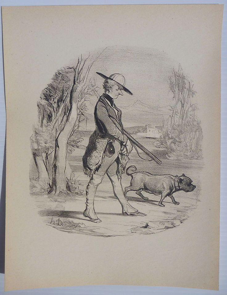 HONORE DAUMIER HUNTING PRINT, DISGRUNTLED HUNTER WALKS W STAFFY BULL TERRIER DOG