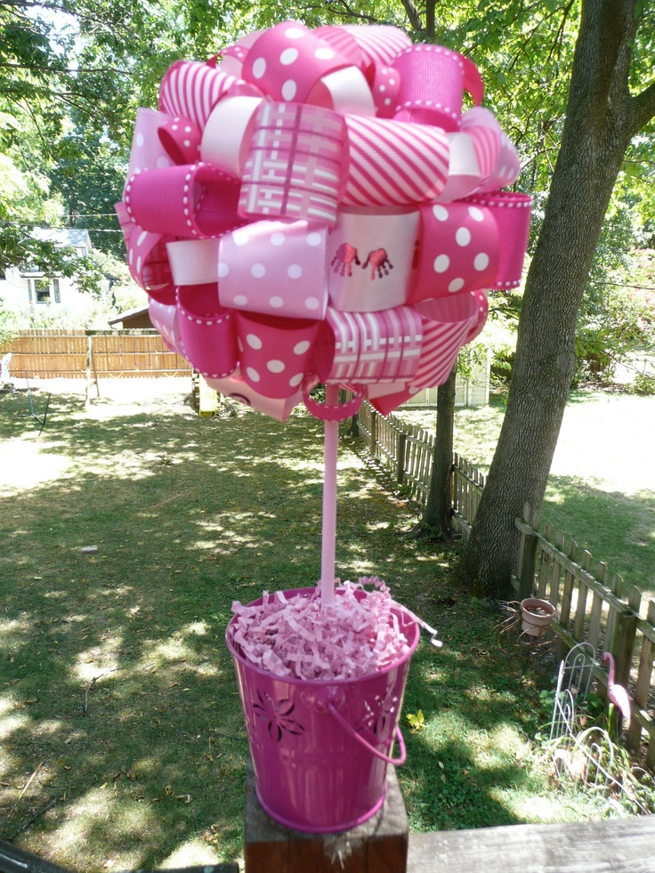 itu0027s a girl ribbon topiary for baby shower