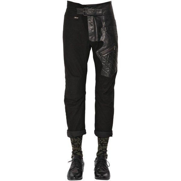 Haider Ackermann Men Slim Cotton & Leather Biker Pants (2,145 CAD) ❤ liked on Polyvore featuring men's fashion, men's clothing, black, men's apparel, mens clothing, leather mens clothing and slim fit mens clothing