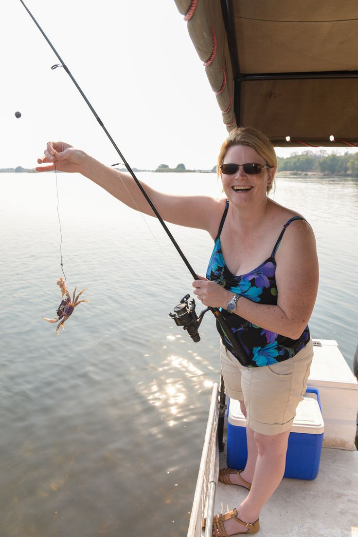 Ramona does a spot of fishing at the Islands of Siankaba in Zambia. #Africa #Travel