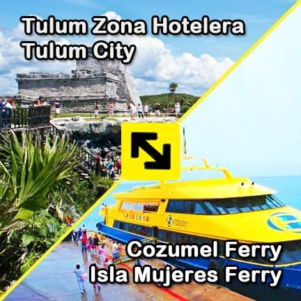 Transfer easily from Tulum City and Tulum Zona Hotelera to the Cozumel Ferry and Isla Mujeres Ferry. Inexpensive, direct private service. Book Online Now!