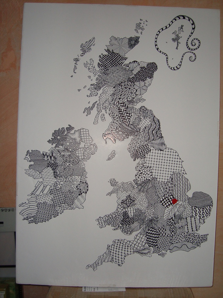 Map of England Scotland and Wales as a Zentangle