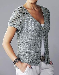 Knitting Pattern for Womens Lacy Short Sleeve Cover-up Cardigan | eBay
